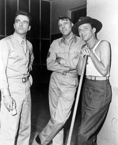 Montgomery Clift,  Burt Lancaster and Frank Sinatra on the set of From Here To Eternity