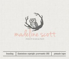 Premade Owl Logo Design Photography Logo Design Hand Drawn Logo Design Watermark  - Eps and PNG files - owl  logo Woodland illustration logo...