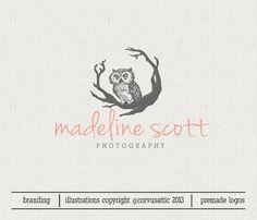 Premade Owl Logo Design Photography Logo Design Hand Drawn Logo Design Watermark  - Eps and PNG files - owl  logo Woodland illustration logo...
