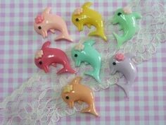 7 pcs Dolphin Cabochons Dolphin with Flower Cabochons by forestdiy