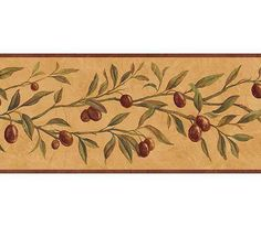 Tuscan kitchen wallpaper border with olives