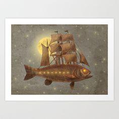 Sky Fish  Art Print by Terry Fan - $18.00