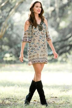 Kimberly Embellished Dress | Francesca's.  Cute dress and boots for fall