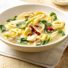 Make our creamy soup with cheese tortellini and spinach tonight! More stews, chilis, and soups: http://www.bhg.com/recipes/soup/soup/soup-and-stew-recipes/?socsrc=bhgpin020113tortellinisoup=2
