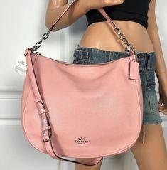 6380ae93e0 Coach F58036 Hobo Shoulder Handbag Pink Pebbled Leather Crossbody Authentic   Coach  ShoulderBag Leather Crossbody