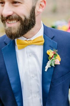 Chartreuse or Mustard bowtie with yellow suit - love! Blue Suit Wedding, Cape Cod Wedding, Bow Tie Wedding, Wedding Men, Wedding Suits, Dream Wedding, Wedding Ideas, Wedding Attire, Blue Tux
