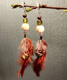 Rooster and peacock feather earrings