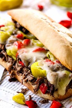 Crazy juicy, tender, flavorful Crockpot Italian Beef Sandwiches loaded with all your favorite toppings! Perfect for Game Day, holidays, parties or just a fun dinner! Make ahead and freezer instructions included. Italian Beef Recipes, Slow Cooker Italian Beef, Italian Roast, Best Mac And Cheese Recipe Easy, Mac And Cheese Homemade, Homemade Rolls, Homemade Italian Seasoning, Roast Beef Sandwiches, Shredded Beef Sandwiches