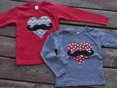 Boys Valentines Mustache & Heart  tee shirt  by TOOCUTEbyJeannette, $16.00