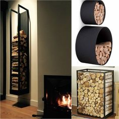 rangement bois de chauffage intérieur idées pratiques Outdoor Firewood Rack, Firewood Storage, Fireplace Surrounds, Fireplace Design, Modern Wood Burning Stoves, Basement Makeover, Living Spaces, Living Room, Funky Design