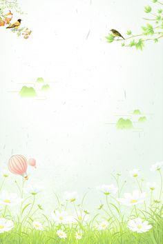 Green Spring Poster Little Bird Green Leaf Background, Artsy Background, Background Images, Flower Branch, Blossom Flower, Plan Image, Green Wallpaper, Background Templates, Green Backgrounds