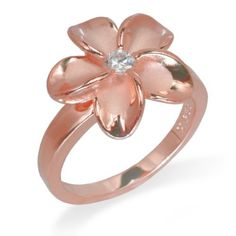 Plumeria Ring with 14K Rose Gold Finish Honolulu Jewelry Company - Size 10