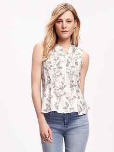 Floral Peplum-Top for Women Product Image