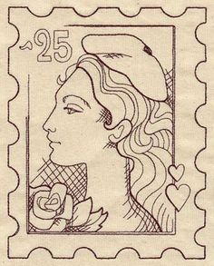 Vintage French Postage Stamp | Urban Threads: Unique and Awesome Embroidery Designs