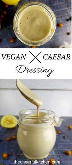 Vegan Caesar Dressing for a delicious caesar salad from The Cheerful Kitchen. Dairy free, egg free and anchovie free caesar dressing recipe. Ceasar Salat, Vegan Sauces, Vegan Foods, Vegan Recipes, Vegan Ideas, Vegan Options, Dairy Free Eggs, Gluten Free Recipes, Sauces