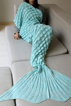 $24.51 Fish Scale Crochet Knit Warm Long Mermaid Blanket Throw