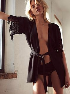 The Stone Cold Fox black silk robe at Free People