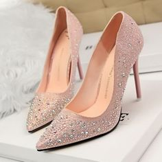 Available Sizes : Heel Height : Platform Height : Heel Height : High Heel Type : Stiletto Color : Pink Toe : Point Shoe Vamp : PU Leather Closure : Slip-On/Pull-On Wedding Shoes Heels, Prom Heels, Bridal Shoes, Silver High Heel Shoes, Prom Dress With Train, Giuseppe Zanotti Heels, Rhinestone Wedding, Rhinestone Shoes, Platform High Heels