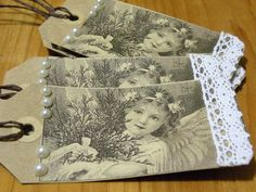 Vintage Style Holiday Gift Tags    Mixed Media Art by aunaturelle, $4.00