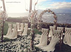 Maui's Angles Weddings at Merriman's Kapalua grassy overlook!! / www.mauisangelsweddings.com