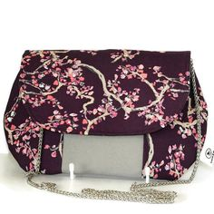 Wonderland Clutch Bag - handmade clutch bag- chain strap - Art Gallery Fabric - Purple clutch bag - Grey vinyl colour panel