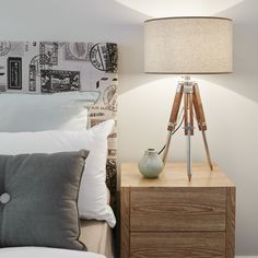 #bedhead #travelstamps #bedsidetable #bedsidelamp #timber #grey #white #pillows #bed Tripod Table Lamp, Bedside Lamp, Bedhead, White Pillows, Bedrooms, Grey, Home Decor, Gray, Decoration Home
