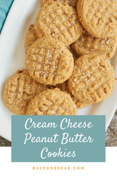 Cream Cheese Peanut Butter Cookies - Food and drink - Cookies Recipes Keto Cookies, Yummy Cookies, Cake Cookies, Peanut Cookies, Ginger Cookies, Peanut Butter Cookie Recipe, Butter Recipe, Cookie Recipes, Cookie Cutout Recipe