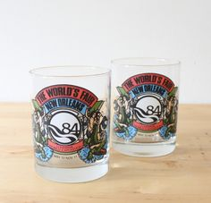 New Orleans Pair of 1984 World's Fair Drinking Glasses, Set of Cups, Vintage Tumblers, Mermaids, World Exposition - pinned by pin4etsy.com