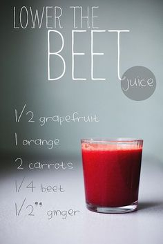 Lower the Beet Juice  1/2 grapefruit / 1 orange / 2 large carrots / 1/4 beet / 1/2 piece of ginger