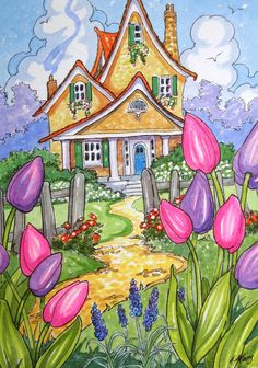 "Daily Paintworks - ""Tis Tulip Time Little Storybook Cottage Series"" - Original Fine Art for Sale - © Alida Akers Cute Cottage, Cottage Art, Watercolor Paintings, Original Paintings, Owl Paintings, Storybook Cottage, Am Meer, Naive Art, Whimsical Art"