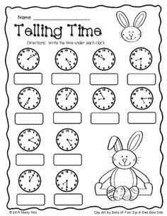 Cinco De Mayo Food Discover Easter Math Freebie Easter Math--Telling time--FREE--Second grade and write time to the nearest five minutes 2nd Grade Math Worksheets, Free Kindergarten Worksheets, School Worksheets, Math Resources, In Kindergarten, Math 2, Free Math, Clock Worksheets, Rhyming Worksheet