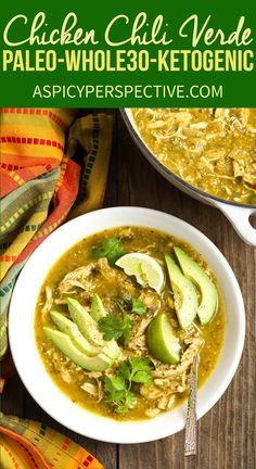 Paleo Chicken Chile Verde Recipe - A lean low carb green chili that fits neatly ., Food And Drinks, Paleo Chicken Chile Verde Recipe - A lean low carb green chili that fits neatly into a Whole 30 diet! It's gluten free, grain free, dairy free. Paleo Menu, Paleo Cookbook, Paleo Recipes Easy, Mexican Food Recipes, Whole Food Recipes, Diet Recipes, Paleo Food, Whole 30 Chicken Recipes, Paleo Dinner