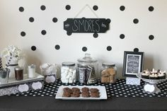Smores Cupcakes   Polka Dot Smores Dessert Table from Occasionally Crafty