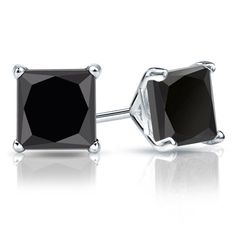 4-Prong Martini-set black princess-cut diamond stud earrings in 14k White Gold. https://www.diamondstuds.com/black-diamond-stud-earrings-bds-8.html?shape=Princess-Black