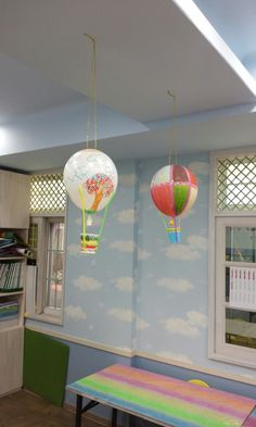 Hot Air Balloon - Materials needed:  balloons, straws, paper cups, markers or paint, tape, and string