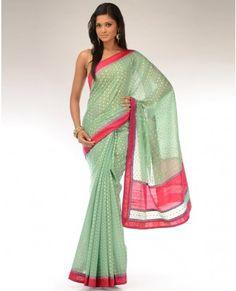 Sage Green Benarasi Sari with Vibrant Red Border