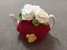 Red with white roses Tea cosy for a medium by SpecialHandmade444