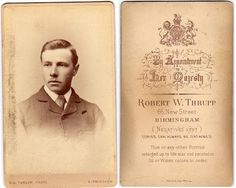 Young man, photographed by Robert Thrupp, 66 New Street, Birmingham