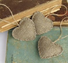 Burlap Heart Christmas Ornaments, Rustic Home Decor