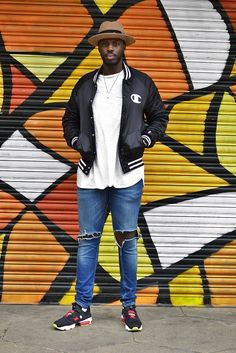 Men's street style | Grunge Brunch - To achieve this look, throw on your favourite pair of jeans with a longline white t-shirt and a casual sporty jacket. | Shop the look at The Idle Man