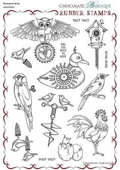 Steampunk Birds Unmounted Rubber stamp sheet - A4 Part Number UA4SP0454 - deeply etched rubber stamps from Chocolate Baroque.