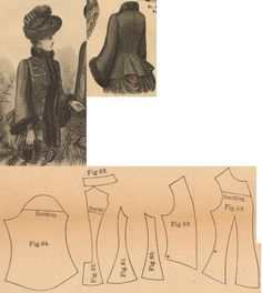 Der Bazar 1888: Terracotta colored wintertime mantle with black adornments (add wadding and terracotta atlas lining); 58. front underpart, 59. front overlapping part, 60. and 61. side gores, 62. back part, 63. collar in half size, 64. sleeve part