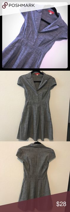 DRESS Beautiful dress navy/gray. Includes navy belt. Perfect for work or interview. 60's style. No rips, holes or stains. All buttons included. Dress has pockets. Makes a great outfit for work. Item#53. 💗Condition: EUC, No flaws 💗Smoke free home 💗No trades, No returns 💗No modeling  💗Shipping next day 💗OPEN TO reasonable OFFERS  💗BUNDLE and save more 💗All transactions video recorded to ensure quality. Rainbow Dresses Midi