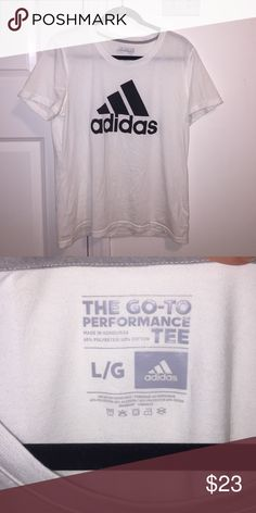 Adidas Trefoil T-shirt A bit see through but it still looks great on! Super cute! In style tshirt! Says size Large but it fits me like a medium. This shirt RUNS SMALLER Adidas Tops Tees - Short Sleeve