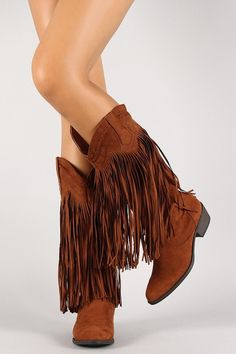 Be on trend this season with our Ladies Brown Fringe Western Boots! Featuring faux suede upper, almond toe, fringe accent, stitching detail, chunky stacked heel, and finished with lightly padded inso