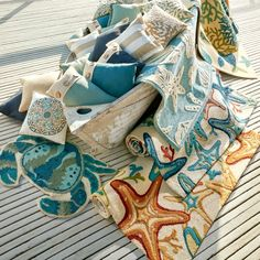 Coastal Outdoor Pillows and Rugs.... http://www.completely-coastal.com/2017/04/coastal-beach-outdoor-decor-pier-1.html A great selection of coastal beach pillows for your outdoor space on Pier 1.