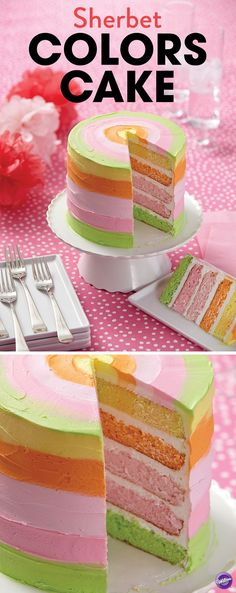 Who needs ice cream when you've got this refreshing dessert to finish your summer barbeque, party or other gathering! Use the Wilton Easy Layers! Cake Pan Set to make a five-layer cake presented in cooling sherbet shades like Bright Bold Orange, Summer Green, Pastel Pink and Bright Bold Yellow! Tint the batter and icing using the Color Right Performance Color System.