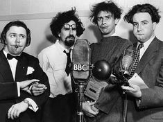 Harry Secombe, Michael Bentine, Spike Milligan and Peter Sellers: The Goons. Before Monty Python, the Goons were at the fore-front of clever British humour and idiosyncrasy The Comedian, British Humor, British Comedy, British Actors, Crazy People, Funny People, Welsh, Spike Milligan, Monty Python