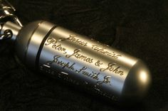 Great gift idea for an LDS MAN.     Consecrated Oil Vial HAND ENGRAVED with HIS Priesthood Line of Authority.