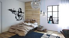 Interior Industrial Stye Lighting On Teenage Boys Room Ideas With Wooden Walls Design Fitted Simple Bed Shape And Artistic Chandelier Style Best Modern Home Design Interior Decor For A Youthful Family
